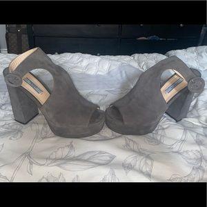 Prada Suede Chunky Heel Platform Sandals